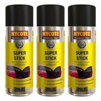 3 x HYCOTE SUPER STICK ADHESIVE SPRAY UNDERLAY CARPET TILE GLUE FLOORING 400ml